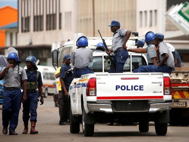 Police patrol in Harare, Zimbabwe