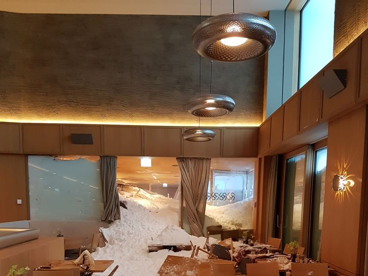 An avalanche hit the Santis hotel in Schwaegalp in Switzerland