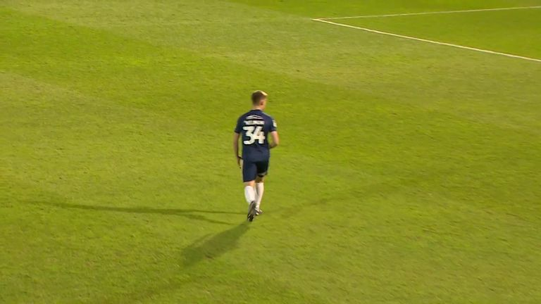 Southend's Charlie Kelman scored a sensational goal from the halfway line in their 3-2 defeat against Plymouth.