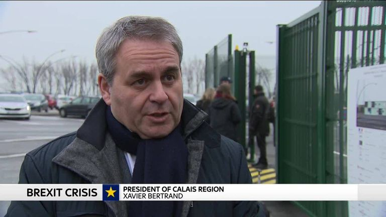 The president of the Calais region has told Sky News that northern France is prepared for Brexit