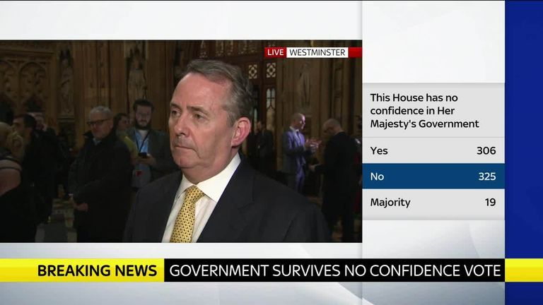 Trade secretary Liam Fox tells Sky News that he is 'not surprised' the government has survived.