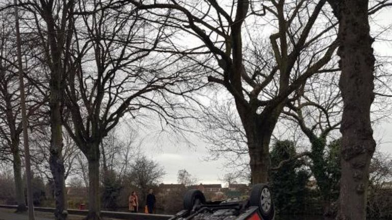 Derbyshire Roads Policing Unit posted this image of the smash on its Twitter feed