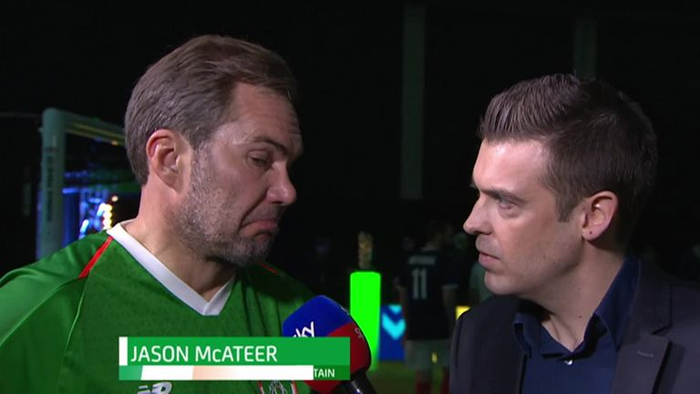 Jason McAteer kicks former Liverpool team-mate Michael Owen