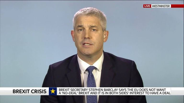 Stephen Barclay says the only way to stop uncertainty is to support the PM's deal.