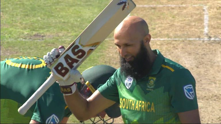 Hashim Amla smashed Pakistan spinner Mohammed Hafeez for six to complete his 27th ODI hundred, in Port Elizabeth