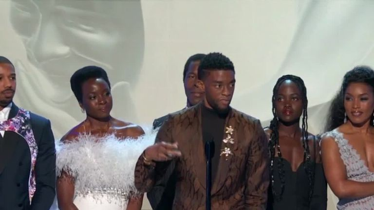 Chadwick Boseman and Black Panther cast on stage at SAG Awards