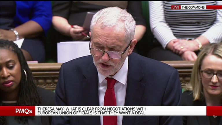 Jeremy Corbyn challenges Theresa May's backstop priority during PMQ's