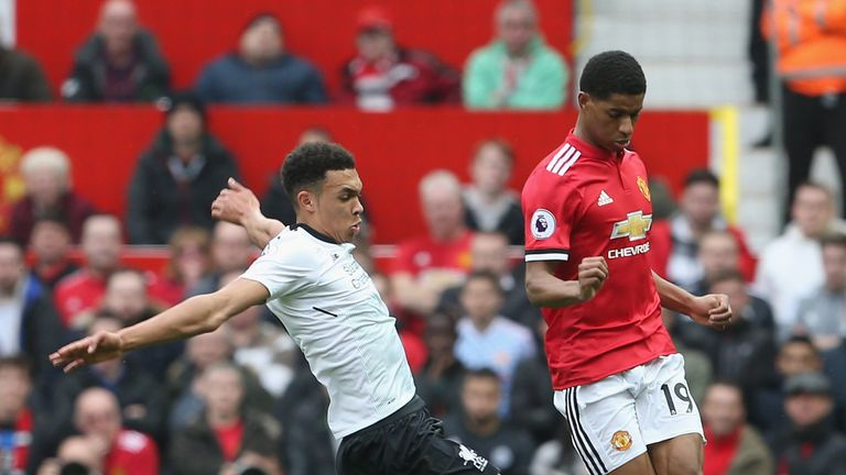 Marcus Rashford of Manchester United in action with Trent Alexander-Arnold of Liverpool