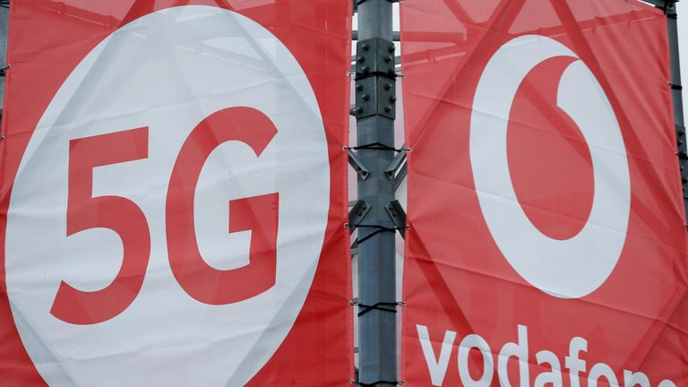 Logos of 5G technology and telecommunications company Vodafone
