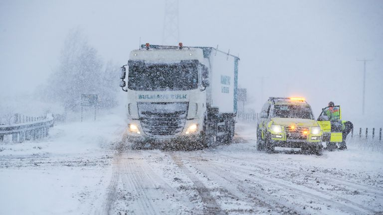 A lorry was seen struggling on the A6 in Cumbria
