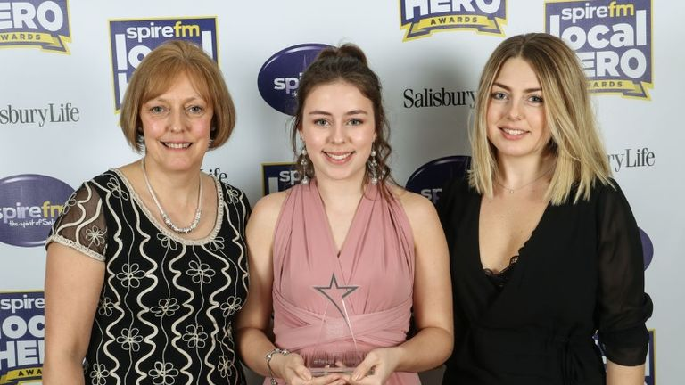 Abigal McCourte (C) won SpireFM's local hero award. Pic: SpireFM