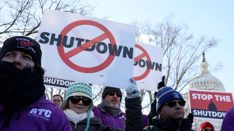 Members of air traffic control protested the closure of the US government