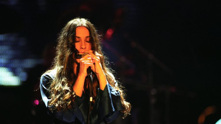 Alanis Morissette at the Brit Awards 1996