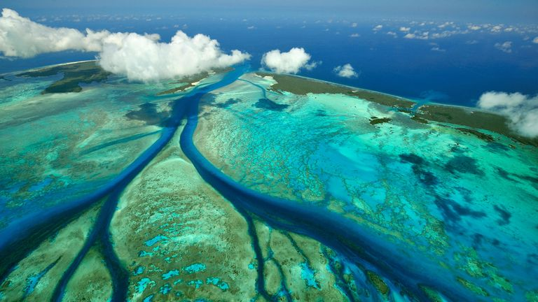 Tidal channels in coral which feed central lagoon with sea water, Aldabra, Seychelles. Pic: Alamy
