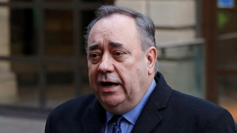 Former First Minister of Scotland Alex Salmond gives a statement after his court appearance