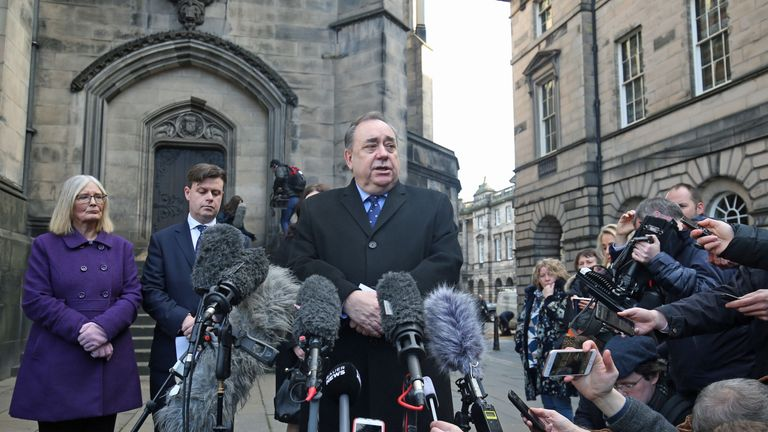 Alex Salmond speaking outside the Court of Session in Edinburgh after it ruled that the Scottish Government acted unlawfully regarding sexual harassment complaints