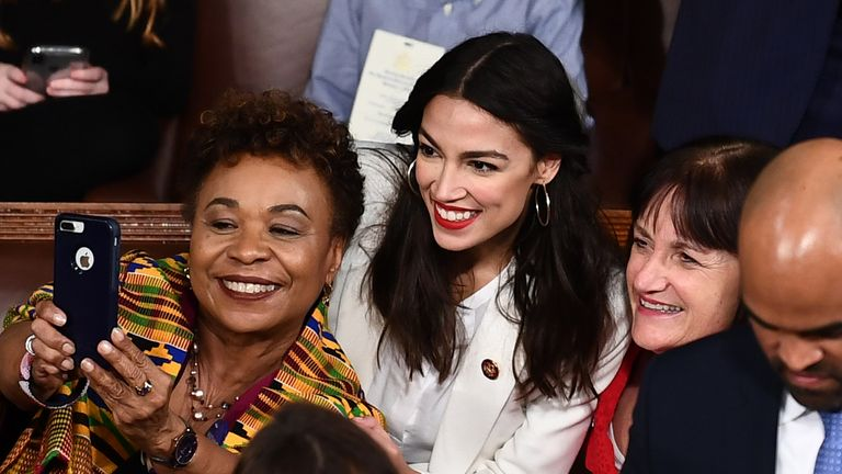 Rep Alexandria Ocasio-Cortez (D-NY) poses for a selfie before the swearing-in