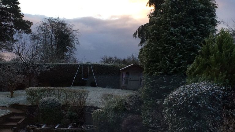 Rain soon turned to snow in Amersham, Buckinghamshire. Pic: Dr Timothy Cross