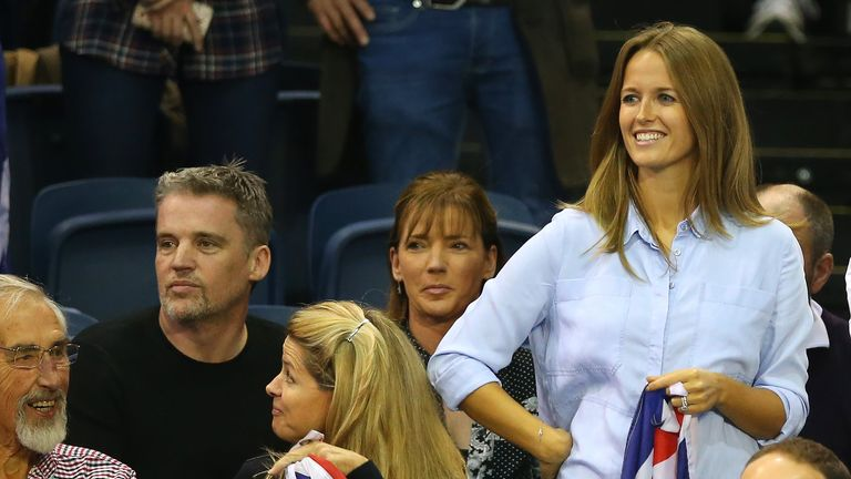 Andy Murray's wife Kim Sears looks on ahead of the Davis Cup reverse singles match between Andy Murray and of Great Britain and Bernard Tomic of Australia in Glasgow, Scotland on September 20, 2015