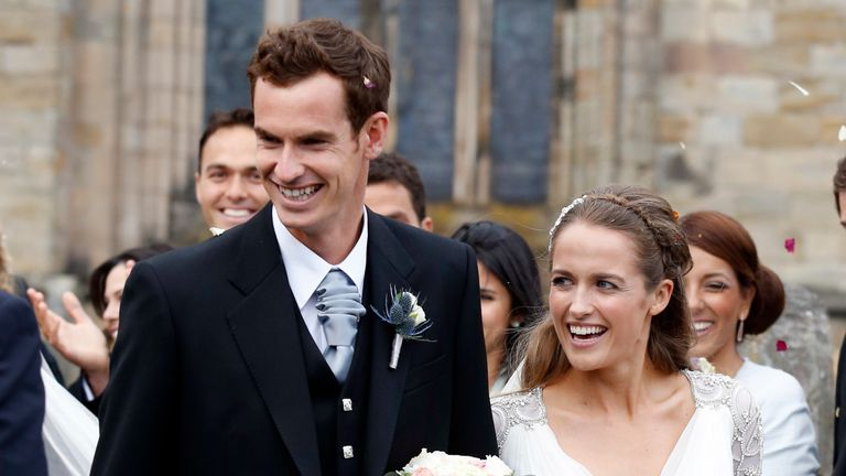 Andy Murray and Kim Sears leave Dunblane Cathedral after their wedding on April 11, 2015 in Dunblane, Scotland
