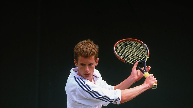 Andy Murray at the Wimbledon Boy's Singles first round match in 2002