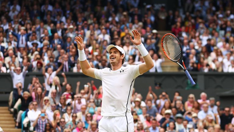 Andy Murray of Great Britain celebrates victory during the Men's Singles Final against Milos Raonic of Canada on day thirteen of the Wimbledon Lawn Tennis Championships at the All England Lawn Tennis and Croquet Club on July 10, 2016 in London, England
