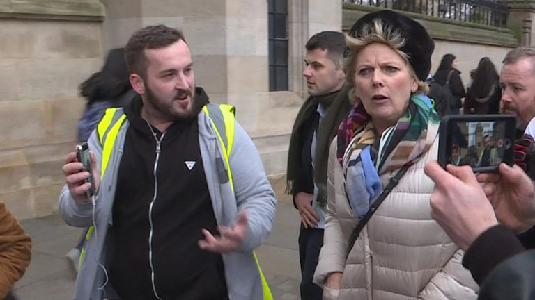 Pro-EU Anna Soubry MP faces pro-Brexit protesters near to Parliament.