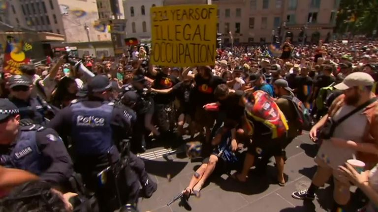 Thousands of protesters marched in Sydney and Melbourne on Saturday to call for a change to the date of Australia Day.
