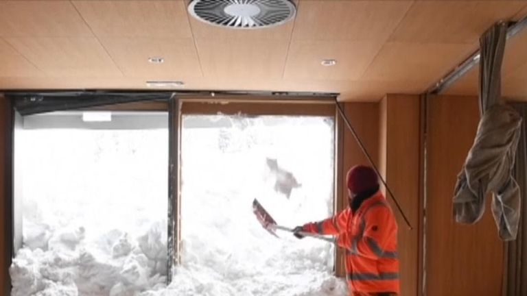 Clearance begins inside a Swiss hotel struck by an avalanche