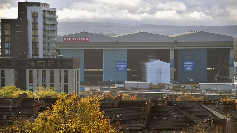A view of the BAE Systems yard in Govan in Glasgow, Scotland