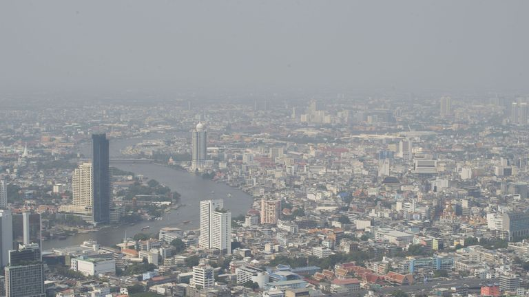 Bangkok's polluted skyline seen from its highest skyscraper