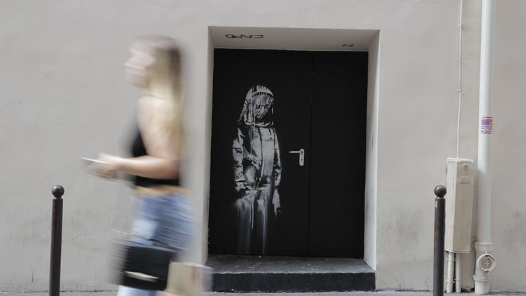 Banksy's artwork on the side of the Bataclan