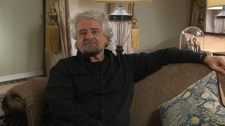 Beppe Grillo speaks to Sky News reporter Katerina Vittozzi
