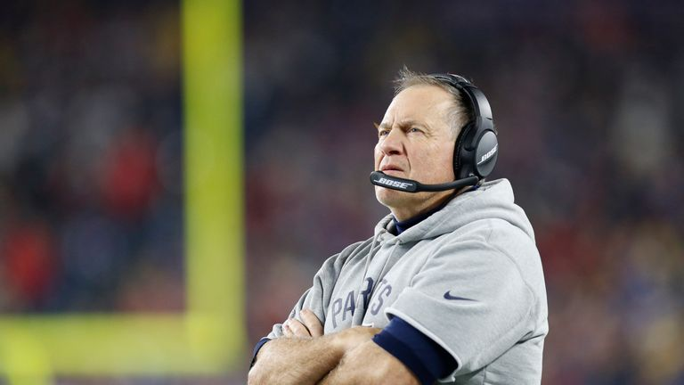 New England Patriots head coach Bill Belichick on the sideline during the second quarter against the Minnesota Vikings at Gillette Stadium