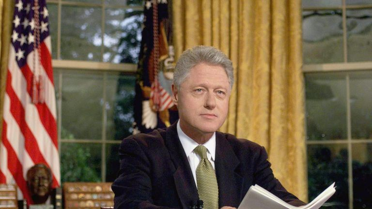 Bill Clinton after addressing the nation from the Oval Office