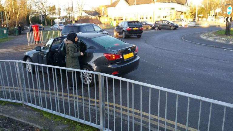 A woman parks on a roundabout in the West Midlands. Pic: @BillesleyWMP