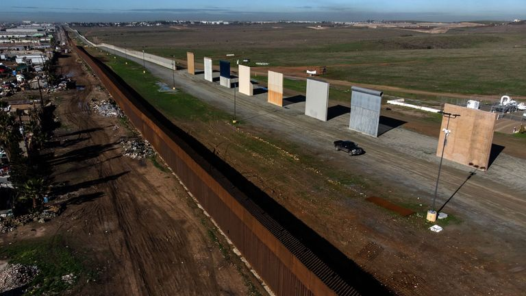 Aerial view of US President Donald Trump's border wall prototypes as seen from Tijuana in California