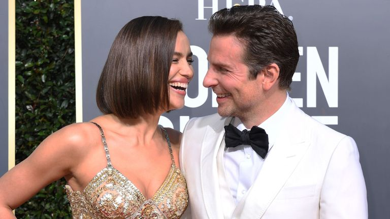 Irina Shayk and Bradley  Cooper at the Golden Globes