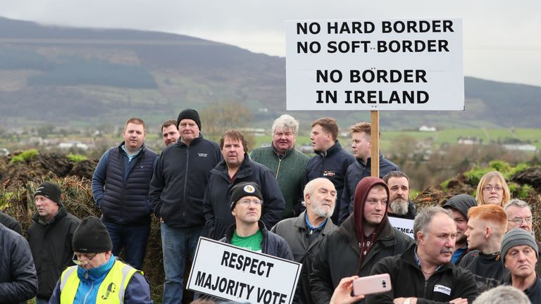 Protesters expressed their opposition to a hard border after Brexit
