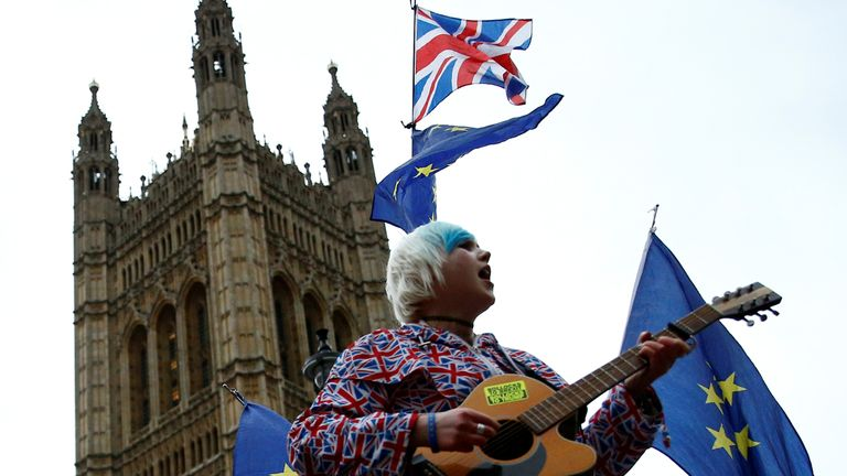 An anti-Brexit protester outside parliament