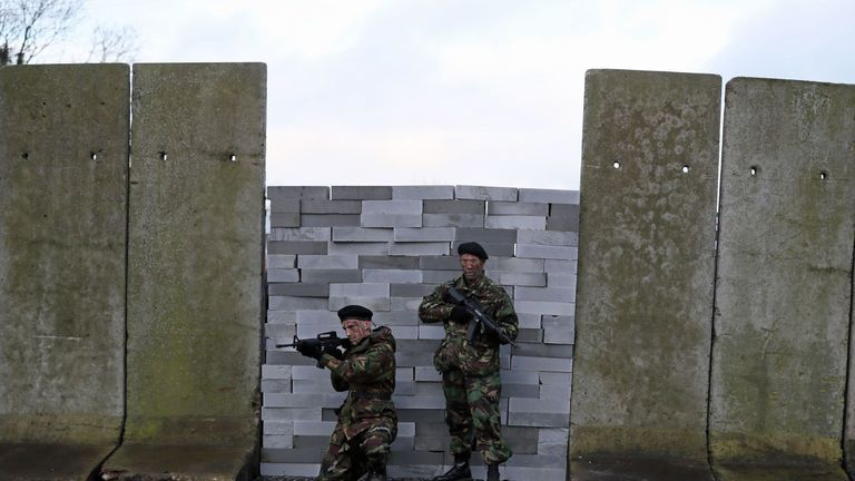 Actors wore military fatigues to take part in the  anti-Brexit rally at the Irish border near Carrickcarnan, Co Louth