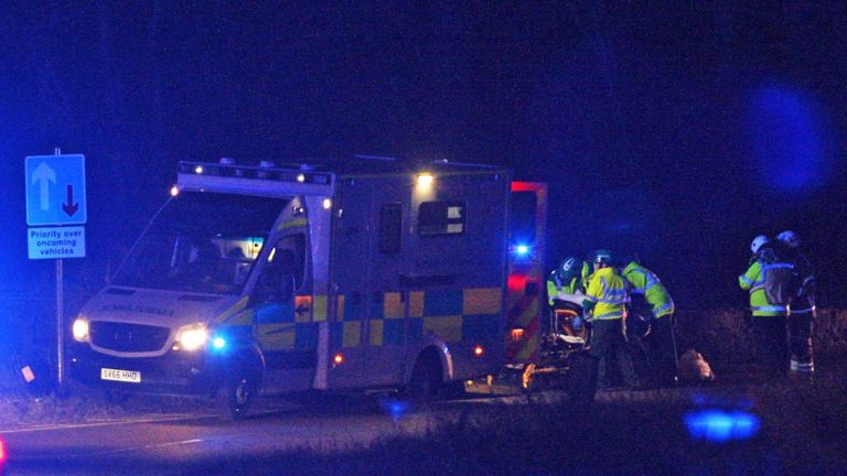 Emergency Services arrived after the bus crashed with nine passengers on board