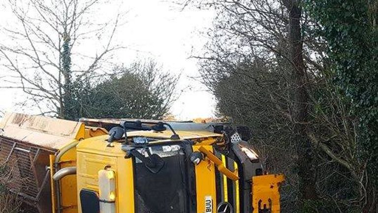 A gritter overturned near Caerphilly. Pic: Facebook/ Caerphilly County Borough Council