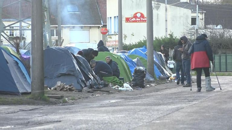 Tents line the streets in Calais as migrants wait for the opportunity to try and get to the UK