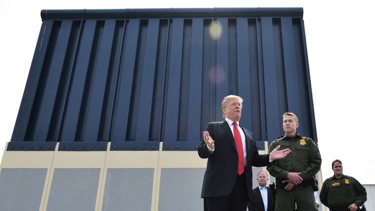 Donald Trump inspects border wall prototypes in California