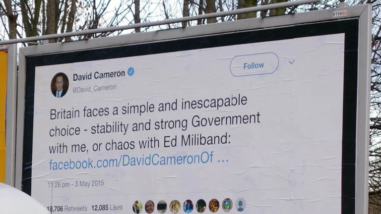 David Cameron's well-remembered chaos tweet is also on a billboard