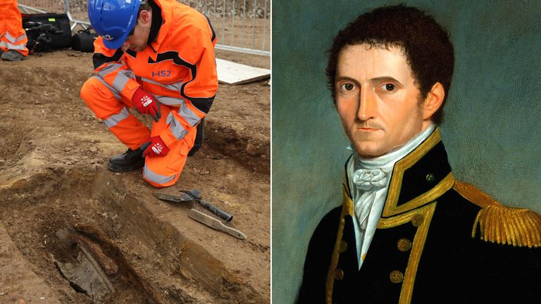 Archaeologists working in St James's burial ground have found the remains of Captain Matthew Flinders
