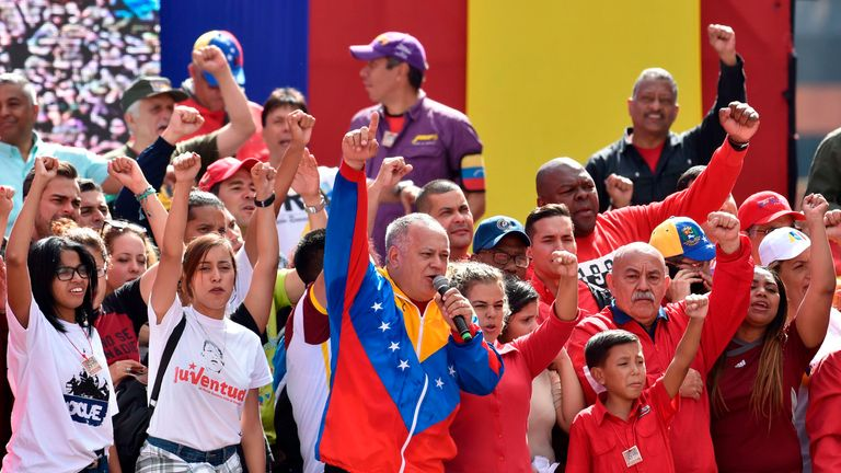 The head of Venezuela's Constituent Assembly and right-hand man of President Nicolas Maduro, Diosdado Cabello, speaks to a crowd of government supporters