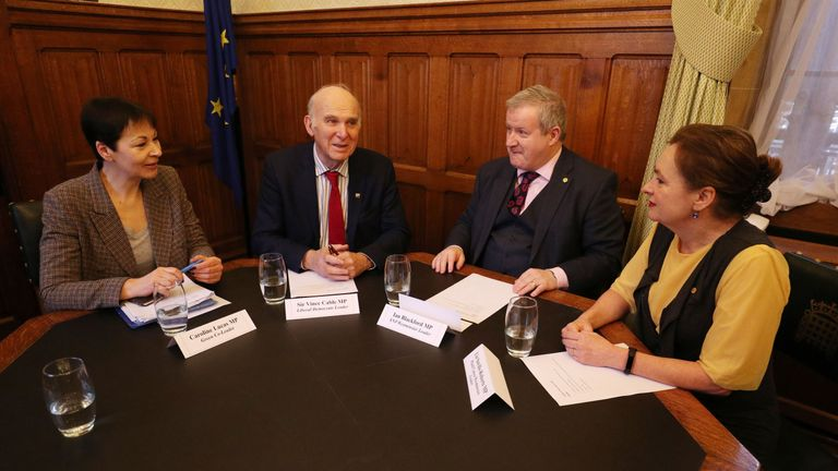 Westminster leaders (left-right) Green Party's Caroline Lucas, Liberal Democrats' Vince Cable, SNP's Ian Blackford and Plaid Cymru's Liz Saville-Roberts meet for a Brexit summit at the Palace of Westminster, London.