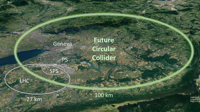 The new collider will be much larger than the old one. Pic: CERN